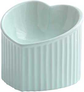 LIONWEI LIONWELI Ceramic Raised Cat Bowls, Tilted Elevated Food or Water Bowls, Stress Free, Backflow Prevention, Dishwasher and Microwave Safe, Lead & Cadmium Free