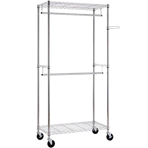 Bonnlo Sturdy Rolling Shelving Garment Rack with 2 Hangers 2