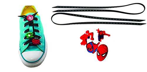 AVIRGO Universal Lazy No Tie Silicone Shoelace Rubber Elastic Slip Sneaker Shoe Laces Running Shoelaces Athletic Elastic Shoelaces with 4 pcs Buckles Adjustable Size Black Set # 16 - (Electro Movie Costume)
