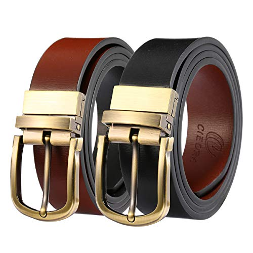 CIEORA Men's Belt Genuine Leather Casual Dress Fashion Reversible Buckle For 2 Colors Black Brown(One Piece)