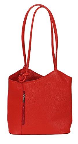 Malito Damen Handtasche Aus Leder   Shopper in Glattleder   Tasche mit Reißverschluss   Schultertasche - Echtleder T503 Rot qxyuWV
