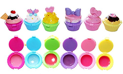 Giveaway, Toycamp Lip Gloss icecream Shape 6 Pack Assorted Designs In Colorful Box Girls Birthday Party Favor Prize Goody Bag Filler