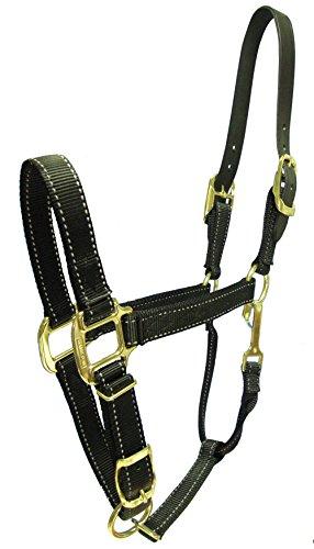 Hamilton Reflective Quality Adjustable Horse Halter with Leather Head Poll, Average Black