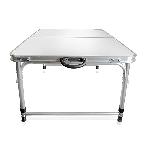 Modern-depo 3Ft Aluminum Folding Camping Table | Height Adjustable Legs for Indoor Outdoor Party Picnic Dining Beach Backyards BBQ (White)