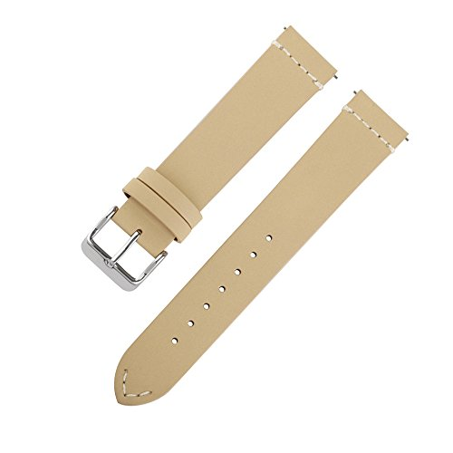 Ivystore Watch Strap 18mm 20mm 22mm SOFT Nubuck Top Grain Genuine Leather Sport Watch Strap Smart Watch Band with Quick Release Spring Bar Bonus With Steel Buckle (18mm, Beige)