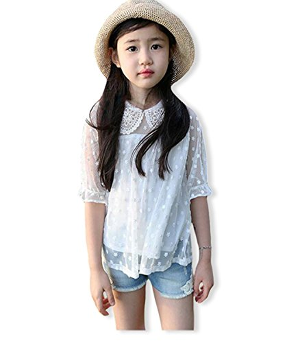 VYU Lace Sleeve Kids T-shirt Cotton Thin Good Quality Girls Flower Blouse White Tops by VYU