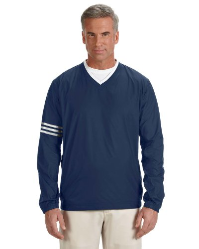 [adidas Golf Men's climalite Colorblock V-Neck Wind Shirt, Medium, NAVY/NAVY] (Adidas Climalite Colorblock Pullover)