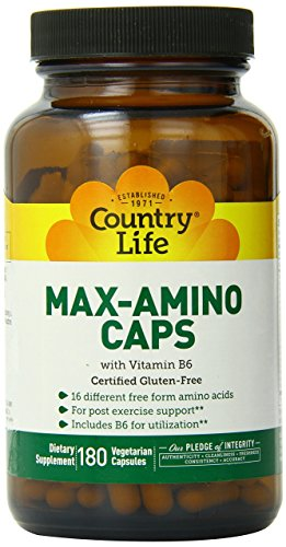 Amino Acid Complex - Country Life - Max-Amino with Vitamin B-6 (Blend of 18 Amino Acids) - 180 Vegetarian Capsules