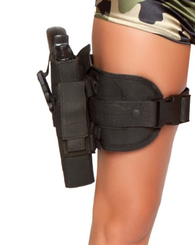 [Roma Costume Gun Leg Holster As Shown, Black, One Size] (Leg Gun Holster Costumes)