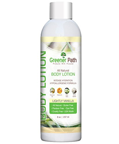 Premium All Natural and Organic Hand and Body Lotion by Greener Path | Vanilla Body Lotion 8 Oz. | Organic Coconut Oil, Aloe Vera & Shea Butter | Organic Moisturizer | Safe Hydrating Body Lotion - Ange Or Demon Givenchy Le Secret