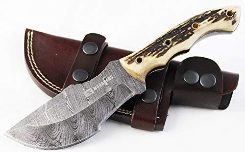 Moorhaus Damascus Knife Handmade Raindrop Tracker - Genuine Stag Handle - a Work of Art!