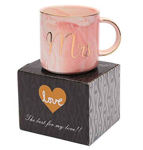 Luspan Mr and Mrs Couples Coffee Mugs - Unique Wedding Gift for Bride and Groom - Gift for Bridal Shower Engagement Wedding and Married Couples - Ceramic Marble Cups 13 oz(Grey and Pink) by Luspan (Image #6)