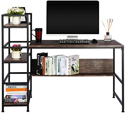 Tower Home Office Computer Desk W/ 3 Tire Open Storage Shelves,54″ Work or Study Writing Desk - the best modern office desk for the money