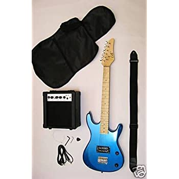 metallic blue junior kids mini 3 4 electric guitar and amp starter pack with learn. Black Bedroom Furniture Sets. Home Design Ideas