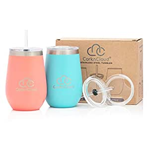 12oz Stemless Stainless Steel Insulated Wine Tumbler with Lid [2 Pack], Double Walled Insulated Wine Glass or Coffee Mug, Bonus 2 Tritan Straw in Lid, PC Teal & PC Coral