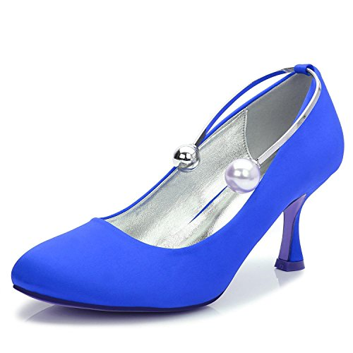 shoes T Elegant 63 Wedding La Evening amp; Toe De Beads Party 17061 Blue Custom Shoes Boda Tacones Boda altos high Cerrado 1v8rv5