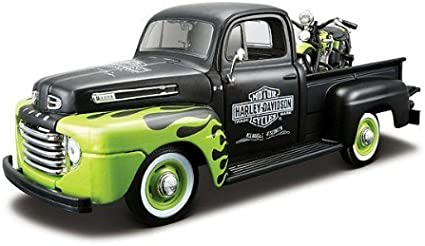 HARLEY DAVIDSON FL PANHEAD MOTORCYCLE FORD F1 PICKUP TRUCK DIECAST VEHICLE TOY