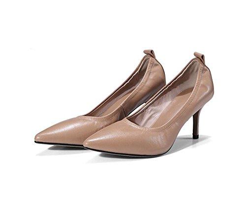 Señaló Boca Zapatos Cuero de Mid Brown Mujer Sandalias QXH Talón Superficial dp6xYIWw