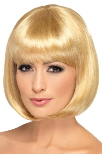 Smiffy's Women's 12inch Short Dark Blonde Bob with Bangs, One Size, Partyrama Wig, 5020570423936 (Sexy Updo)