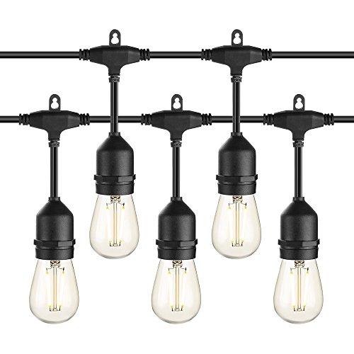 Outdoor String Lights, Zanflare LED Vintage Edison Bulb String Lights, 48FT Waterproof 18 x E26 2W LED Bulbs String Lights for Indoor Outdoor Graden Patio Cafe Bistro Home Decor