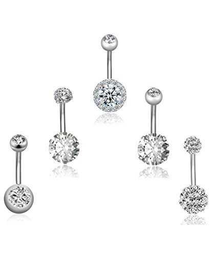 REVOLIA 5Pcs 14G Stainless Steel Belly Button Rings for Women Girls Navel Rings CZ Body Piercing S by REVOLIA (Image #1)