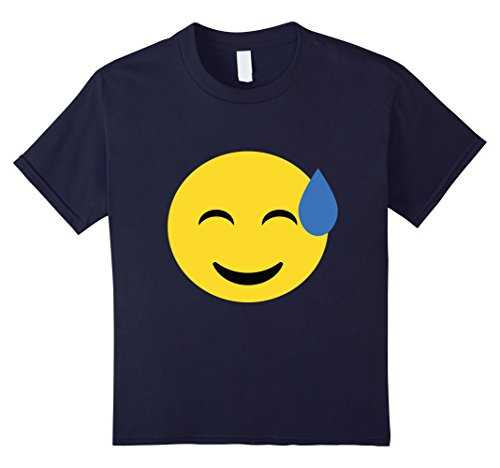 Kids T-Shirt Funny Emoticon Face Happy Halloween Cold Sweat 12 Navy