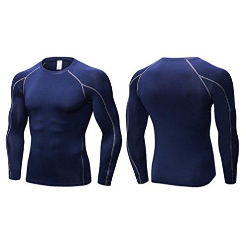 Sports Marin À Manches Courir Fitness Respirant Élastique Bleu Longues Entraînement Compression Vêtements Hommes Et shirt T Yujeet qwaC00