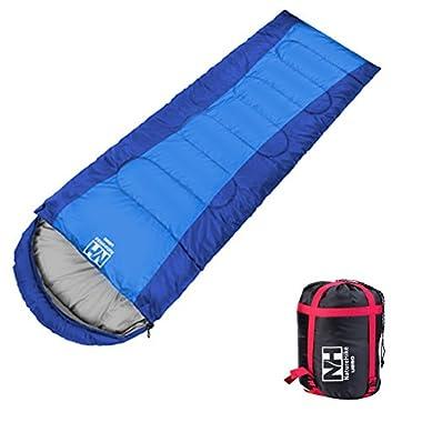 Campsod Hiking Camping Sleeping Bag Lightweight Rectangular Waterproof Sleeping Bags XL Blue