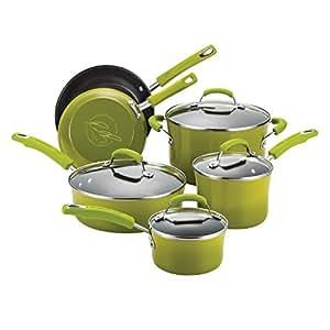 Rachael Ray Porcelain/Hard Enamel II Nonstick 10-Piece Cookware Set, Green Gradient