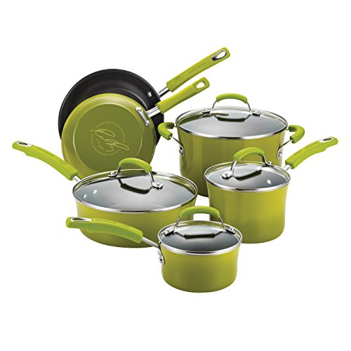Rachael Ray Porcelain/Hard Enamel II Nonstick 10-Piece Cookware Set, Green Gradient by Rachael Ray