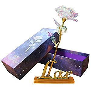 24K Colorful Rose Artificial Flower Valentine's Day Lovers' Gift Romantic Flower with Love Base, Best Gifts for Her for Girlfriend Wife Women (Rose(with Base)) 52