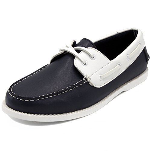 Nautica Deck Shoes - Nautica Men's Nueltin Casual Boat Shoe Loafer 2 Eye Lace Moccasins-Navy/White-8