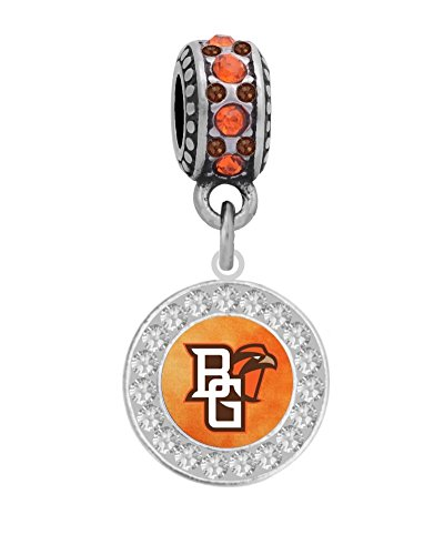 Bowling Green State University Crystal Logo Charm Fits European Style Large Hole Bead Bracelets by Final Touch Gifts