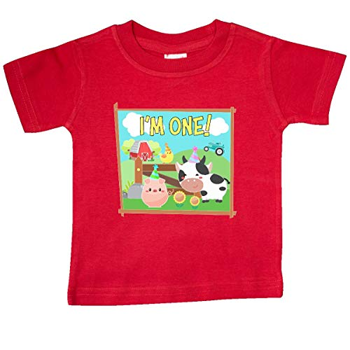 inktastic - I'm One! Farm Animals Wearing Baby T-Shirt 24 Months Red 36529