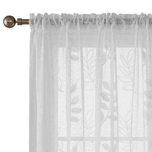 Deconvo Floral Embroidered White Sheer Curtains Faux Linen Rod Pocket Sheer Curtain Panels for Bedroom 52x84 Inch White 2 Panels ()