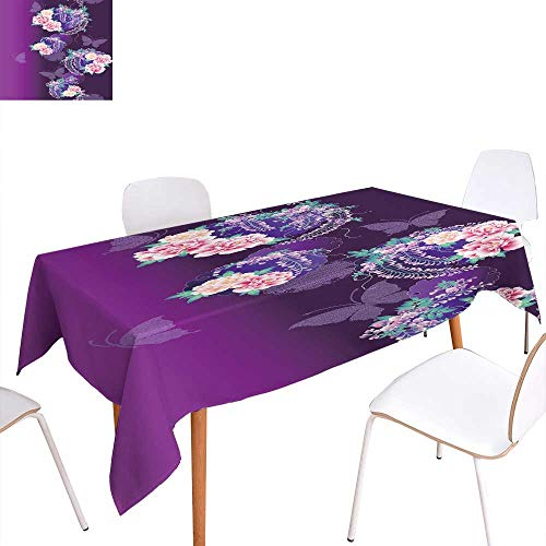 longbuyer Picnic Cloth Japanese Style Wisteria and Peony Pattern Rectangle/Oblong W 52