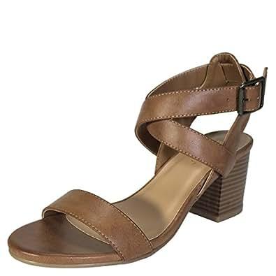 BAMBOO Women's Single Band Block Heel Sandal With Crisscross Ankle Strap, Tan PU, 5.5 D (M) US