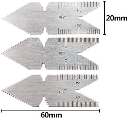 Asdomo 3 Pezzi di misuratore Centrale 55//60 Gradi angolari Pollici metrico Vite filettata Pitch Gauge Strumenti tornio
