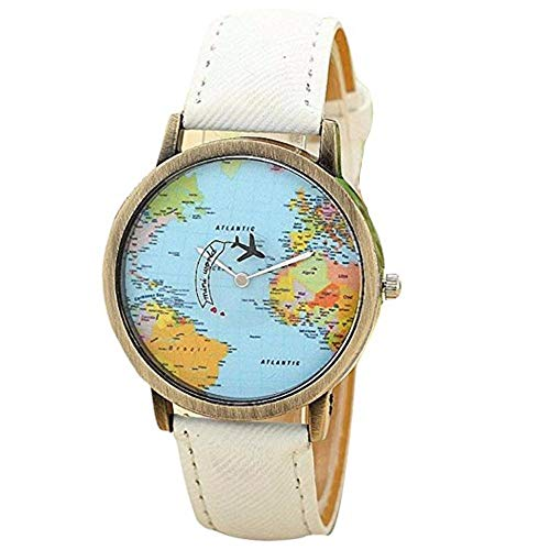 Dressin Women's Watch Airplane Moving Flying World Map Watch Butterfly Watch with Denim Fabric Watch Band