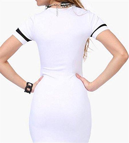 Abito Bianco Domple Corta Maglia Bodycon Manica A Elegante Stampa Della Patchwork Mini Di Donne Delle Tx5wRq6On