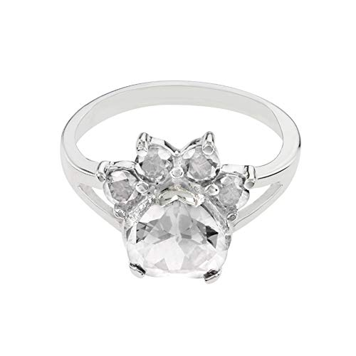 - Dwcly Pet Paw Dog Animal Paw Print Birthstone Sterling Ring at The Animal Simple Fashion Ring for Lovers Birthday Jewelry (April)