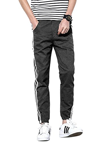 Hat and Beyond Mens Fleece Jogger Pants Stripe Casual Urban Active Elastic Slim Fit (Medium, 1WP0001_Charcoal)