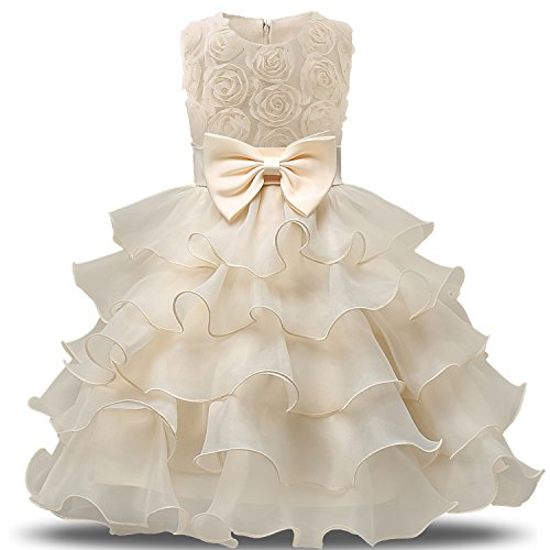 NNJXD Girl Dress Kids Ruffles Lace Party Wedding Dresses Size (120) 4-5 Years Flower Yellow