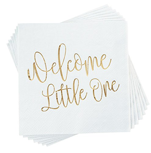 Baby Shower Cocktail Napkins - 50 Pack Gold Foil Welcome Little One Disposable Paper Party Napkins, Perfect for Baby Shower Decorations and Gender Reveal Party Supplies, 5 x 5 inches, White ()