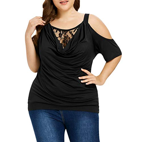 (Sttech1 Plus Size T-Shirt for Women, Ladies Solid Color Cowl Neck Lace Patchwork Off Shoulder Top Blouse Black)