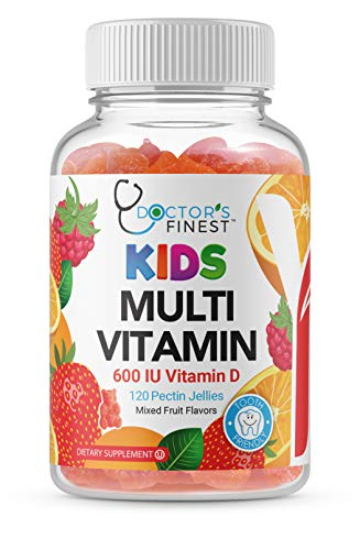 Doctors Finest MULTIVITAMIN Gummies for Kids, Vegetarian, GMO-Free & Gluten Free, Great Tasting Fruit Flavors Pectin Chews w/Vitamins A, C, D, E, 6 Different B Vitamins, 120 Count [60 Day Supply]