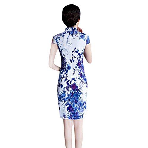 Vestido de Retro 06 Hzjundasi Qipao Mangas cortas Tradicional Floral Mujer Chicas Cheongsam noche Impreso Lino 88x06wv