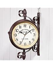 Garden Clock, Outdoor Clock Indoor, Outdoor Garden Wall Clock, 10 inch Classical 360°Rotation Double Sided Clock Train Station Clock Wrought Iron Retro Creative Home, Outdoor Decora