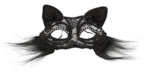 Bienvenu Women's Sexy Fancy Cat Lace Eye Mask Venetian Masquerade Mask,Black -