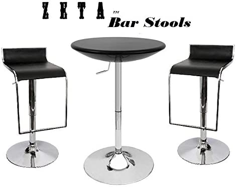 South Mission Zeta Contemporary Adjustable Synthetic Leather Bar Stool Set of 2 – Black